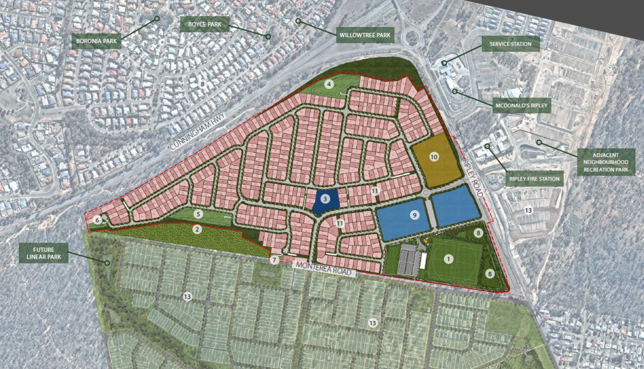 Subdivision plan including proposed shopping centre (in blue) for Ripley Valley site.