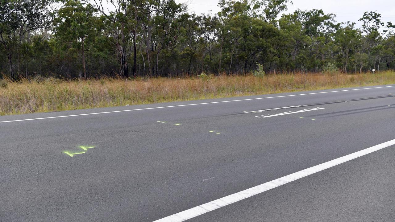 Scene of a double fatality on the Bruce Highway several hundred metres south of the Torbanlea Roadhouse. Photo: Alistair Brightman