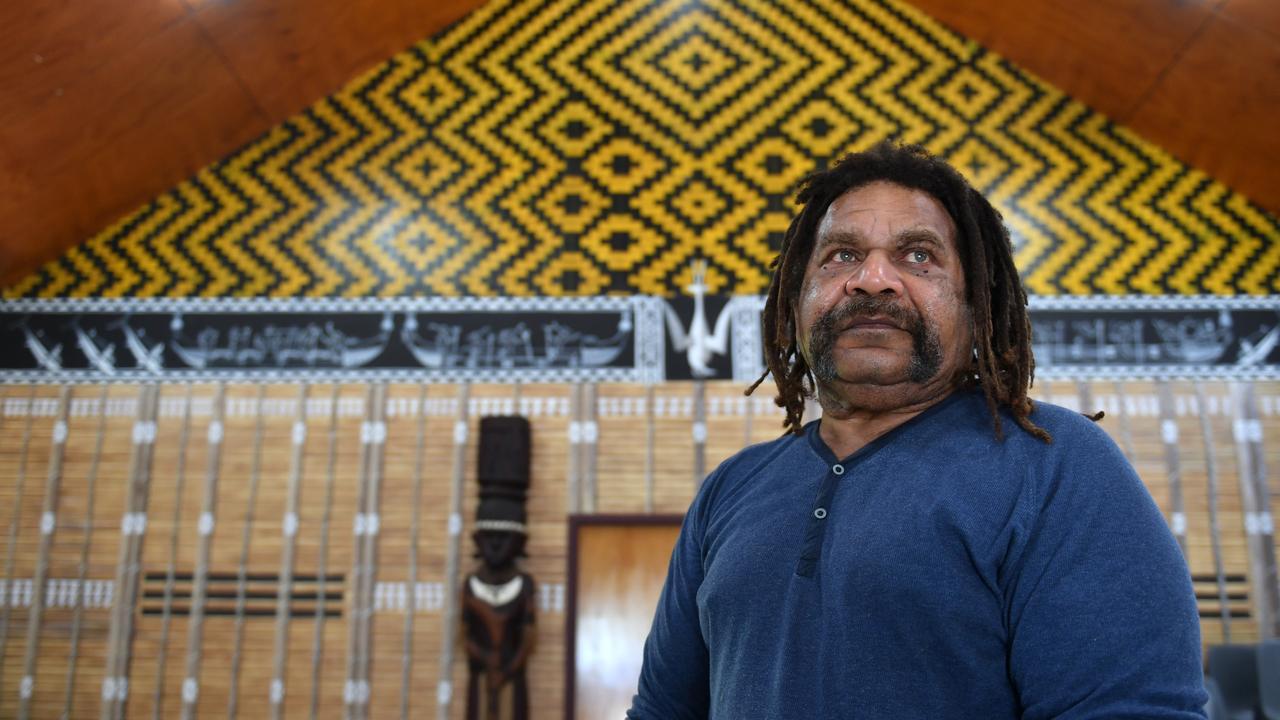 MADASSIA president Starrett Vea Vea at the South Sea Islander Hut. Picture: Tony Martin