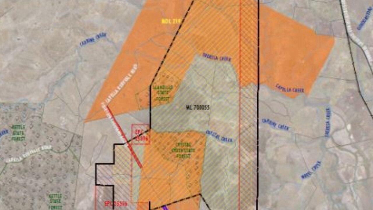 A map of the proposed Valeria coal mine. Picture: Glencore