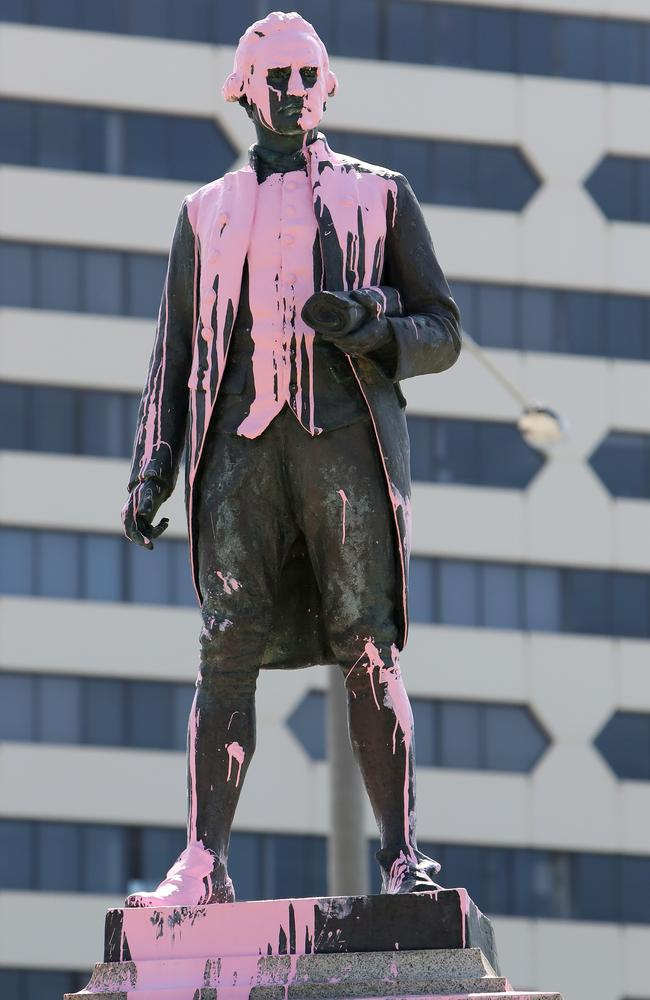 A statue of Captain Cook in Melbourne's St Kilda was vandalised in 2018. Picture: Stuart McEvoy/The Australian.