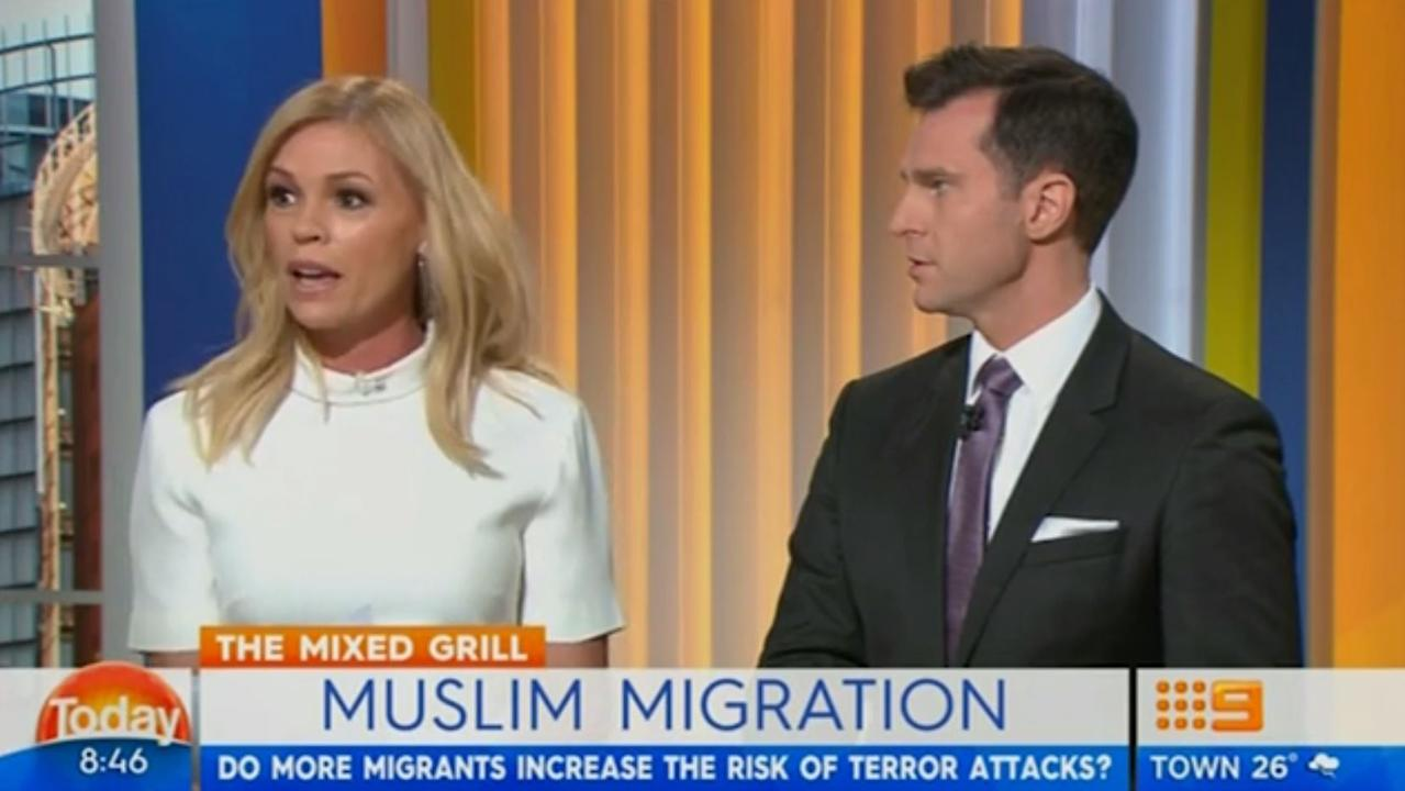 Sonia Kruger and David Campbell during the controversial segment. Picture: Today