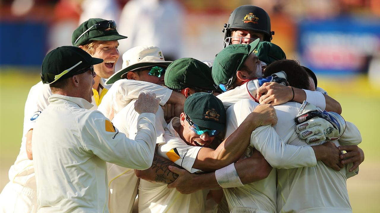 Australian celebrate at the close of day five after South Africa made them work for the win.
