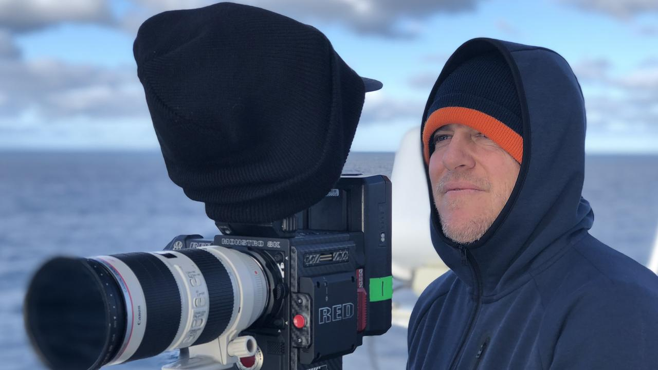 Director and cinematographer Nick Robinson on the CSIRO's RV Inestigator in a scene from Ocean Odyssey: A Journey Down the East Australian Current.