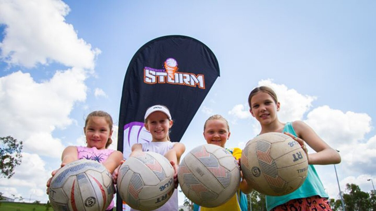 Members of the new Somerset Storm are primed to hit in the netball court, from left Holly Babarovich, Addison Clark, Hannah deRutier and Aria Frohloff. PHOTO: Supplied