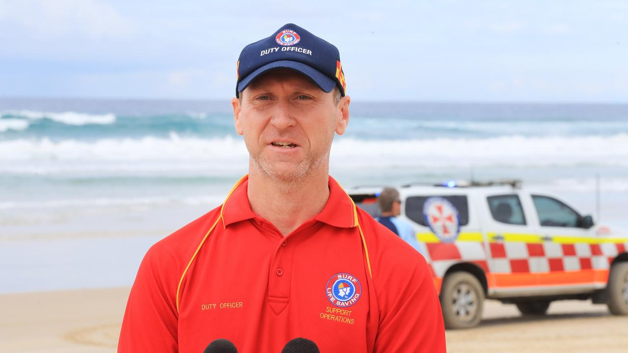 NSW Surf Life Saving Duty Officer Jim Keough fronts the media at the sight of this mornings fatal shark attack at Casurina Beach on the Tweed Coast.Photo Scott Powick Newscorp