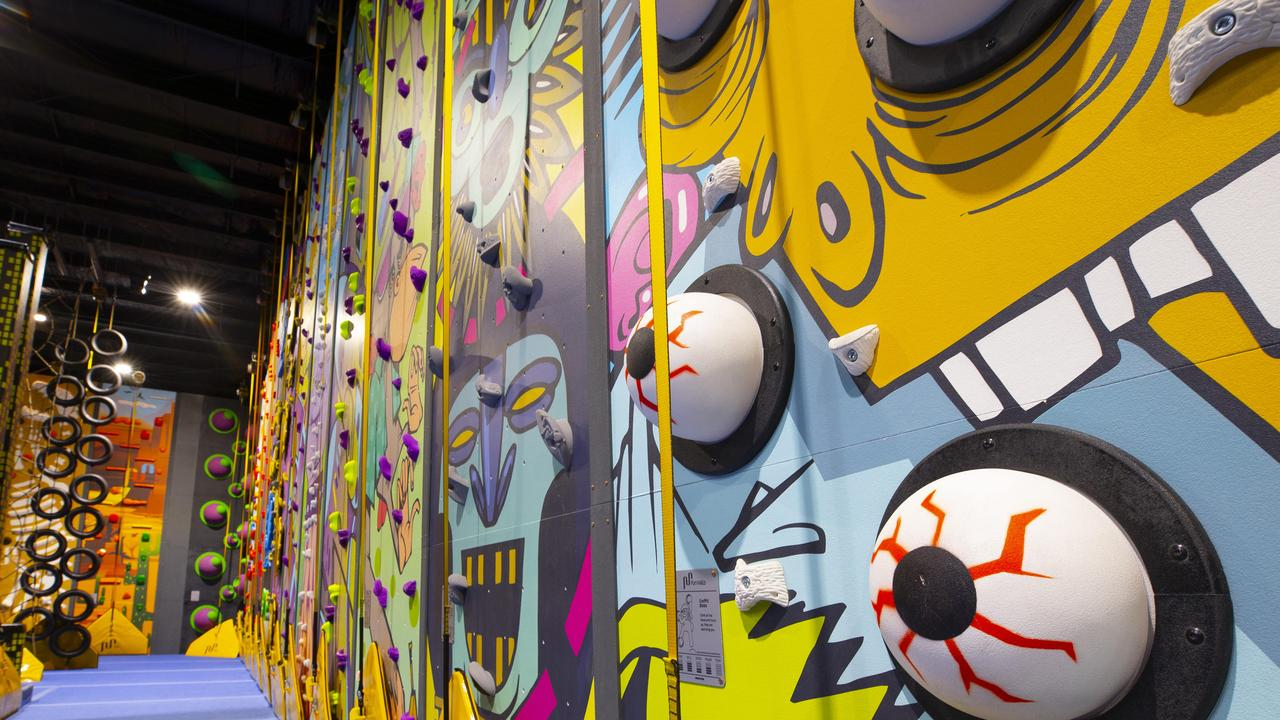 The Tribal Climb Wall at the Jungle Adventure Play Centre in Tingalpa. Picture: Renae Droop