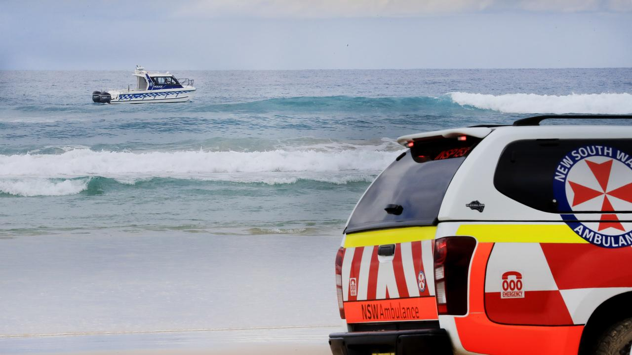 A NSW Police boat patrols the surfe at the sight of Sunday's fatal shark attack at Casurina Beach on the Tweed Coast.Photo Scott Powick Newscorp