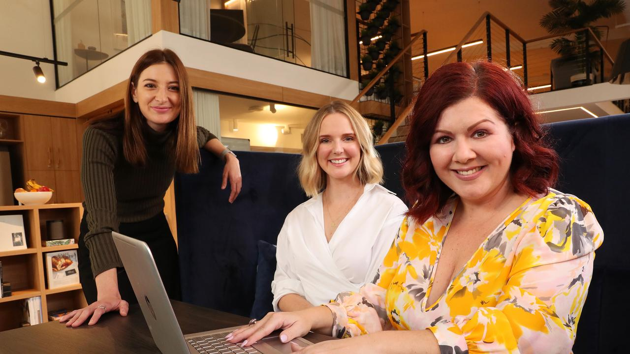 Freelancers Kate Cook, 30, of Herston, and Clare Ross, 34, of Ashgrove, working with Fleur Madden, who has started a digital jobs platform dedicated to female freelancers. Picture: Liam Kidston.