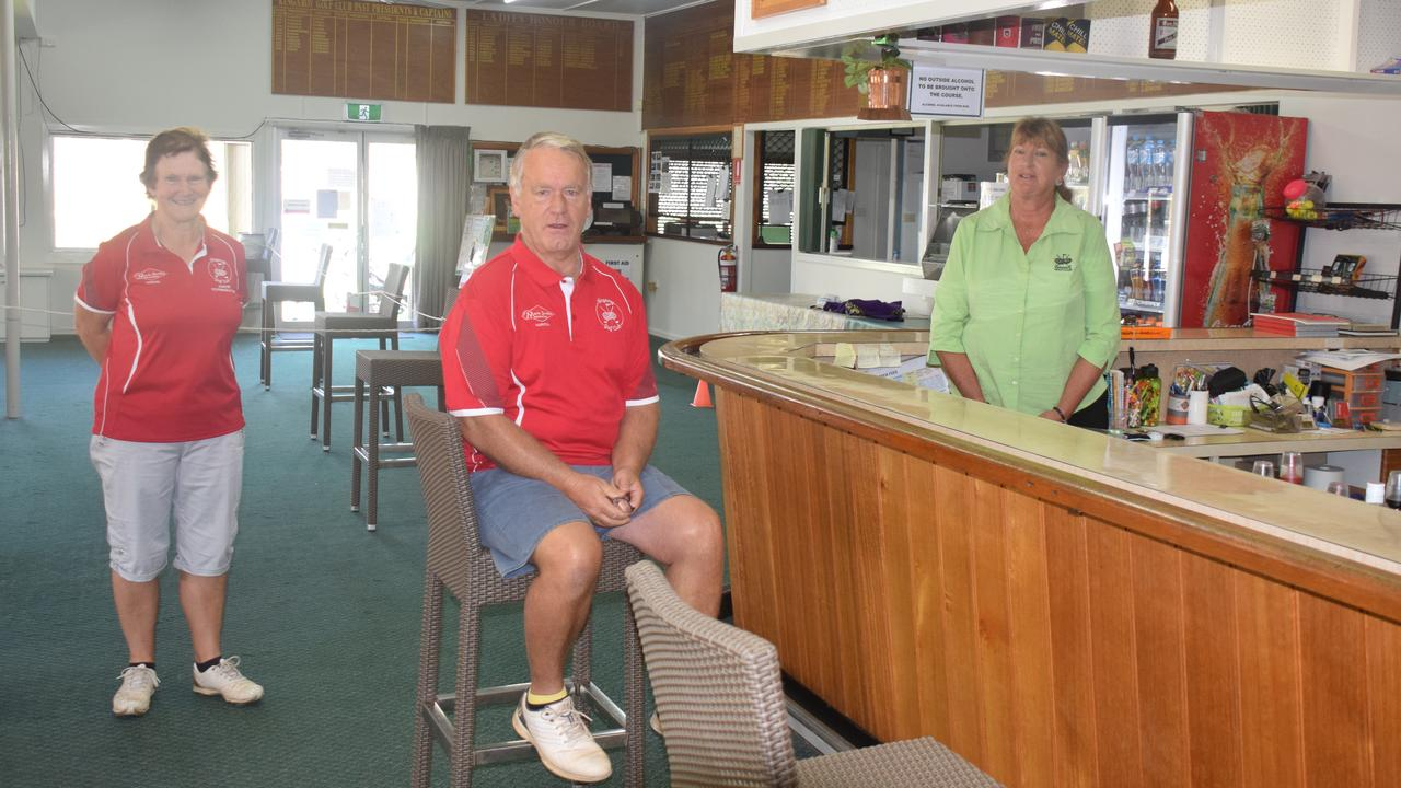 GOLF CLUB: Jane and Dennis Franklin and Jazz Herborn are ready to welcome back patrons to the Kingaroy Golf Club.