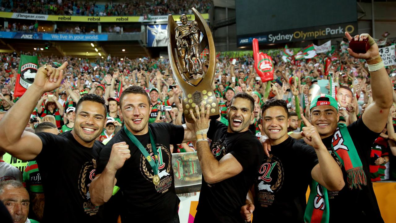 Ben Te'o celebrates hiss NRL premiership success with Souths.