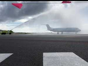 Sunshine Coast Airport welcomes the arrival of the first flight on its new runway.