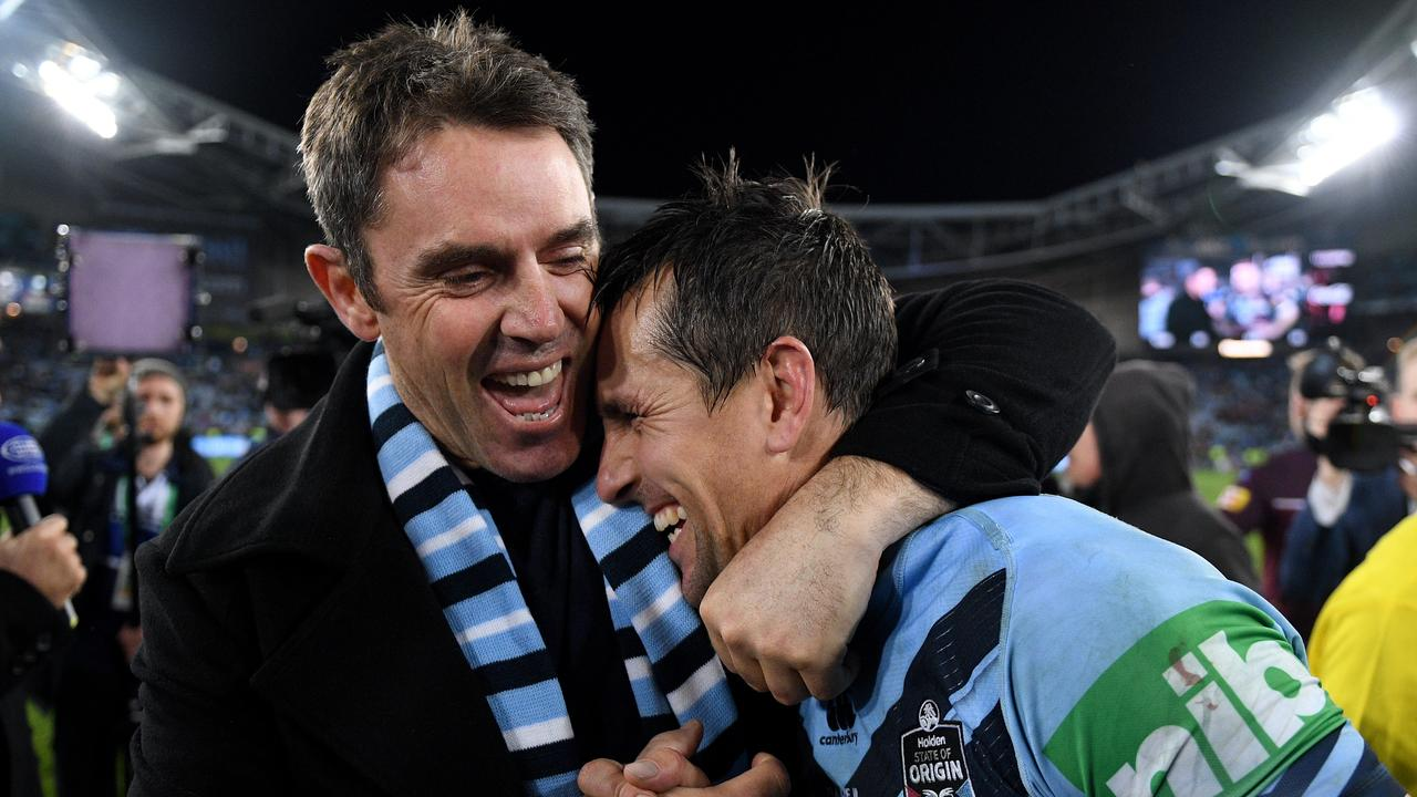 NSW Blues coach Brad Fittler celebrates with Mitchell Pearce following their win in Game 3 of the 2019 State of Origin series. Picture: AAP Image/Dan Himbrechts