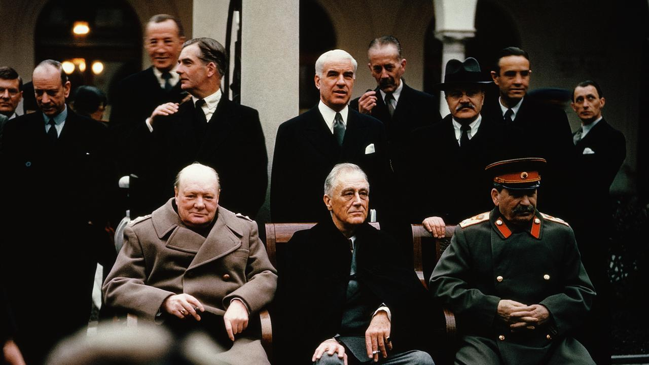 Churchill (left) alongside US President Franklin Roosevelt and Russia's Joseph Stalin at the Yalta Conference as World War II came to an end in 1945.