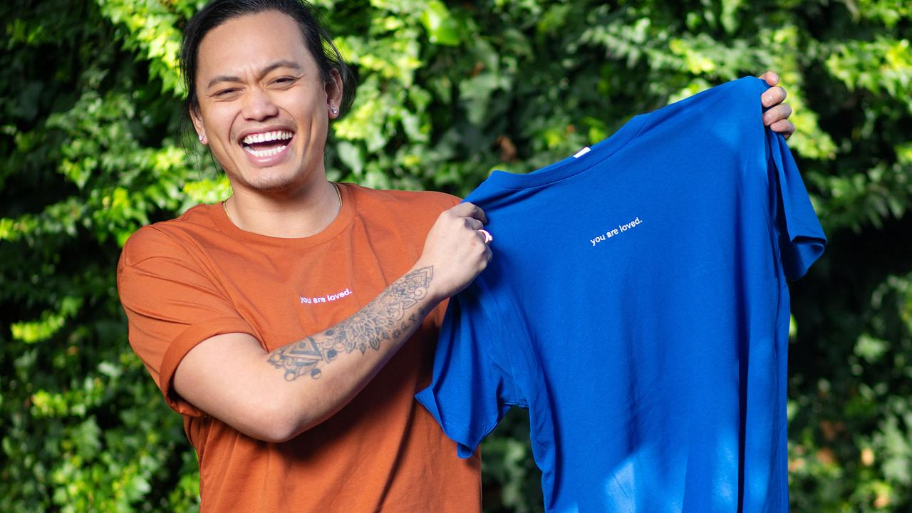 MasterChef contestant Khanh Ong for started T-shirts called You Are Loved to spread love and positivity. Picture: Mark Stewart