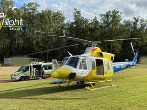 Motorbike rider flown to hospital after attempting flip