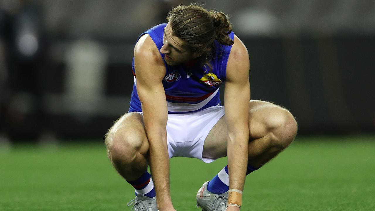 Bulldogs captain Marcus Bontempelli after the final siren. Picture Michael Klein