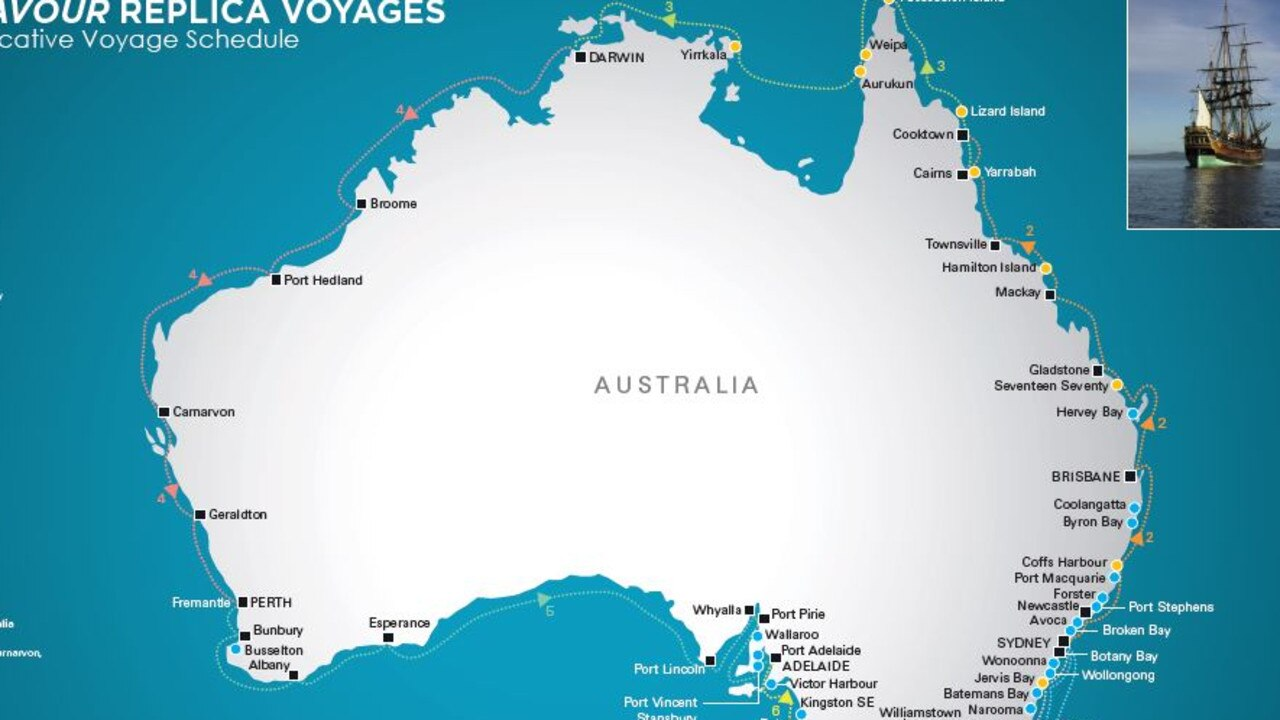 Map of journey due to be taken to commemorate the 250th anniversary of Captain Cook arriving in Australia.