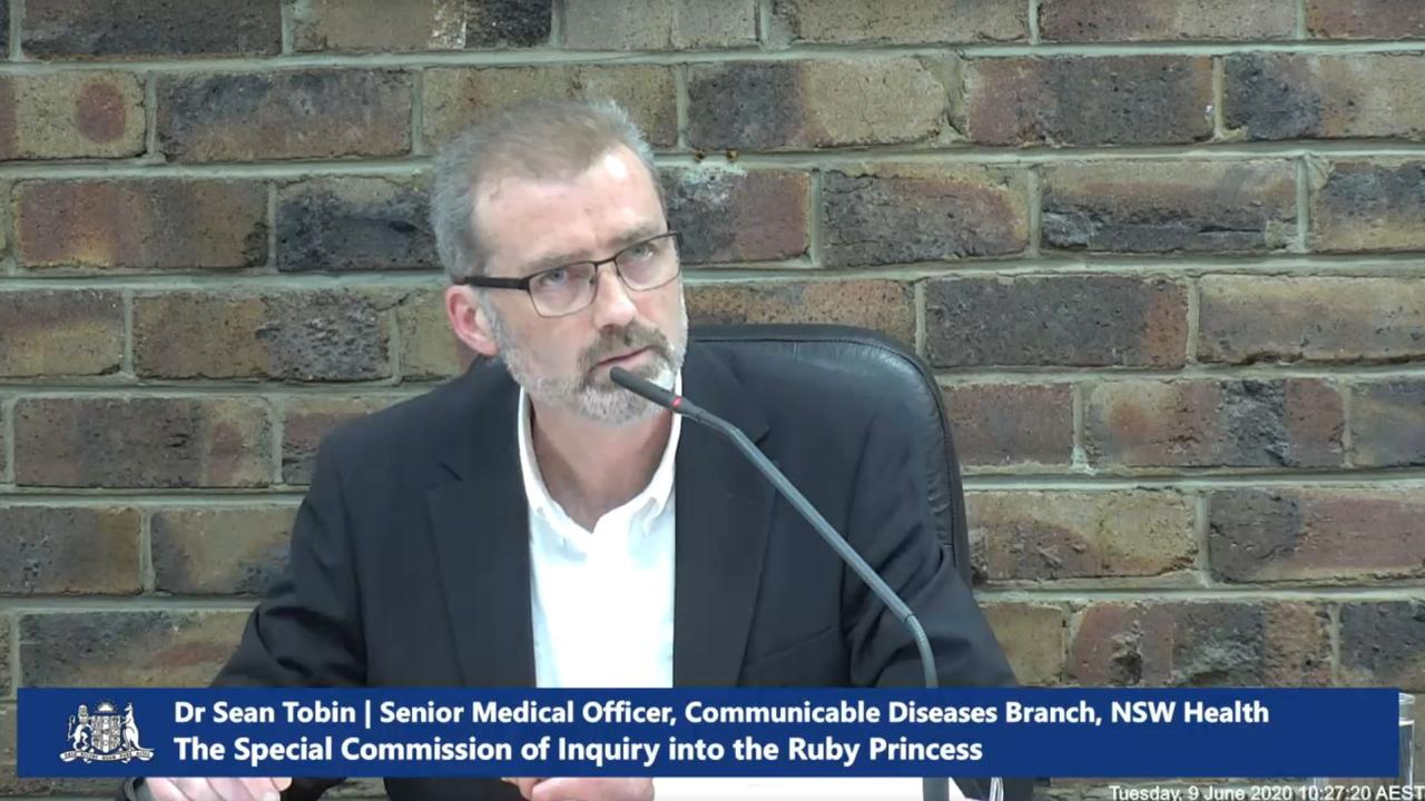 Senior Medical Officer Dr Sean Tobin addresses the Ruby Princess Inquiry. Picture: Supplied.