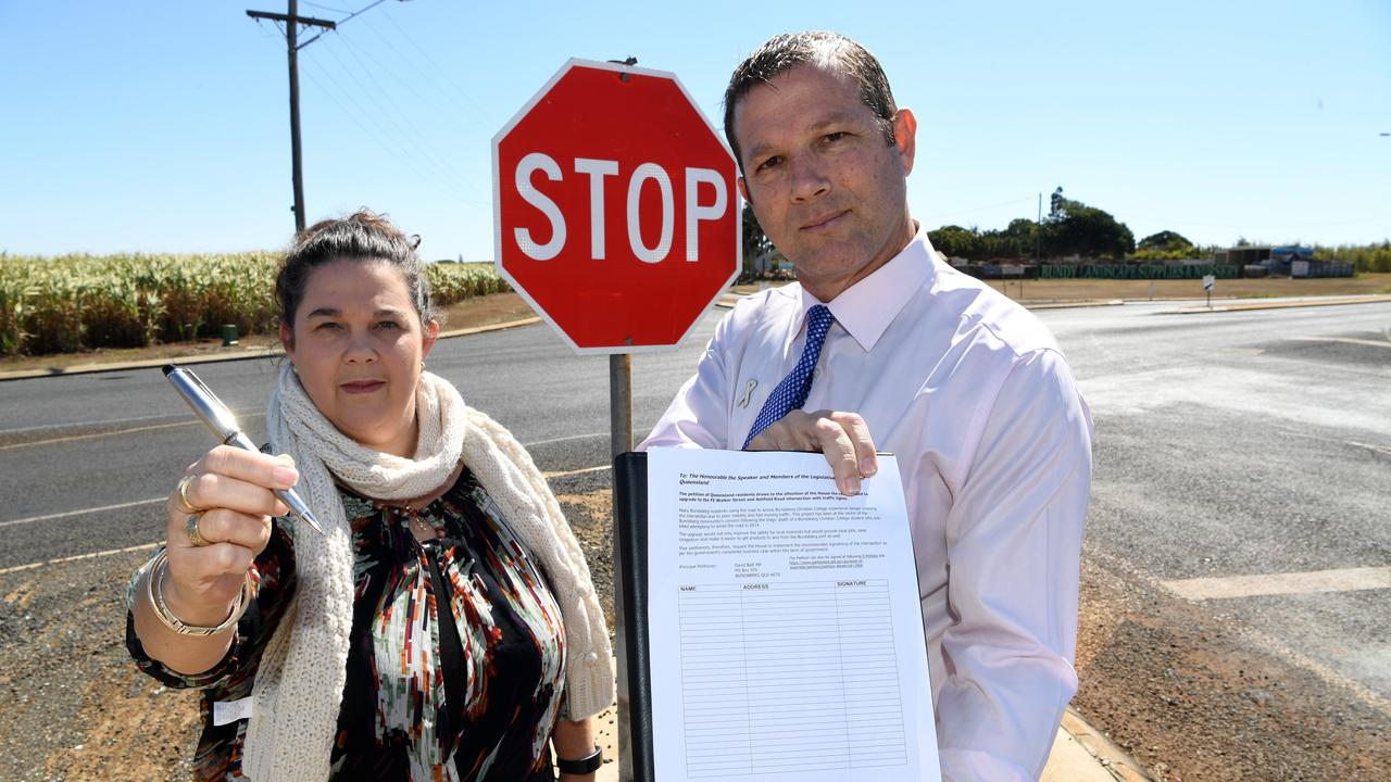 Bundaberg resident Carmen McEneany and Bundaberg State MP David Batt launched a parliamentary petition last month seeking an upgrade to the FE Walker St and Ashfield Rd intersection. Picture: Mike Knott.