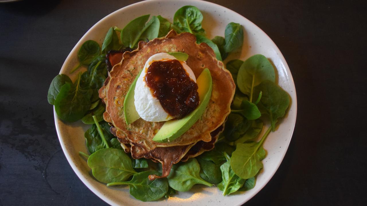 BREAKFAST: Zucchini Fritters off the Whipbird breakfast menu. (Picture: Tristan Evert)