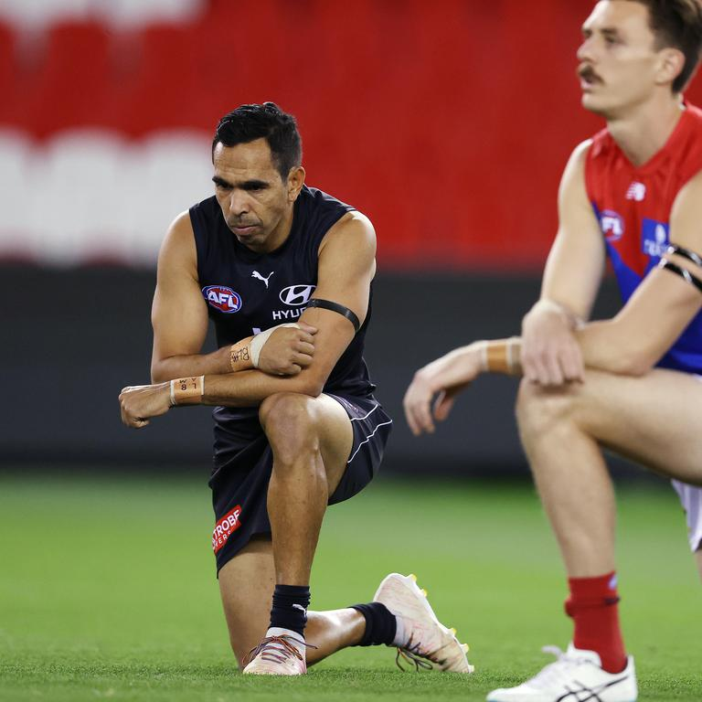 Eddie Betts drops to one knee in support of Black Lives Matter. Picture: Michael Klein