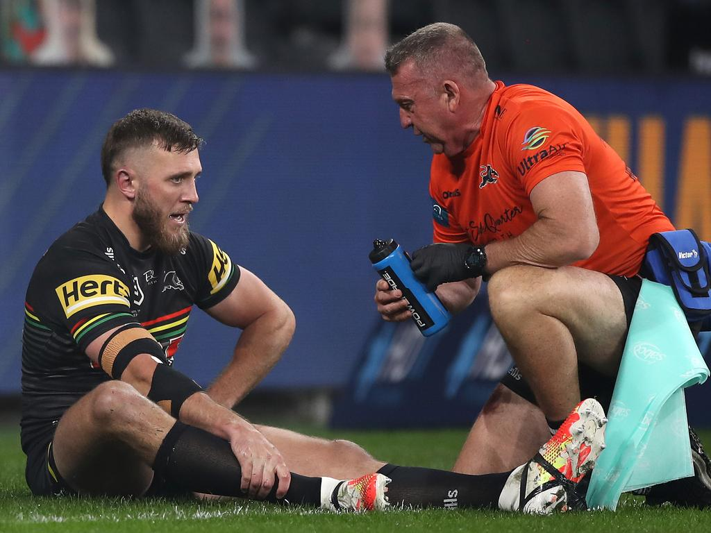 Kurt Capewell of the Panthers injured his knee early on in the round five match against the Eels. Picture: Mark Kolbe/Getty Images
