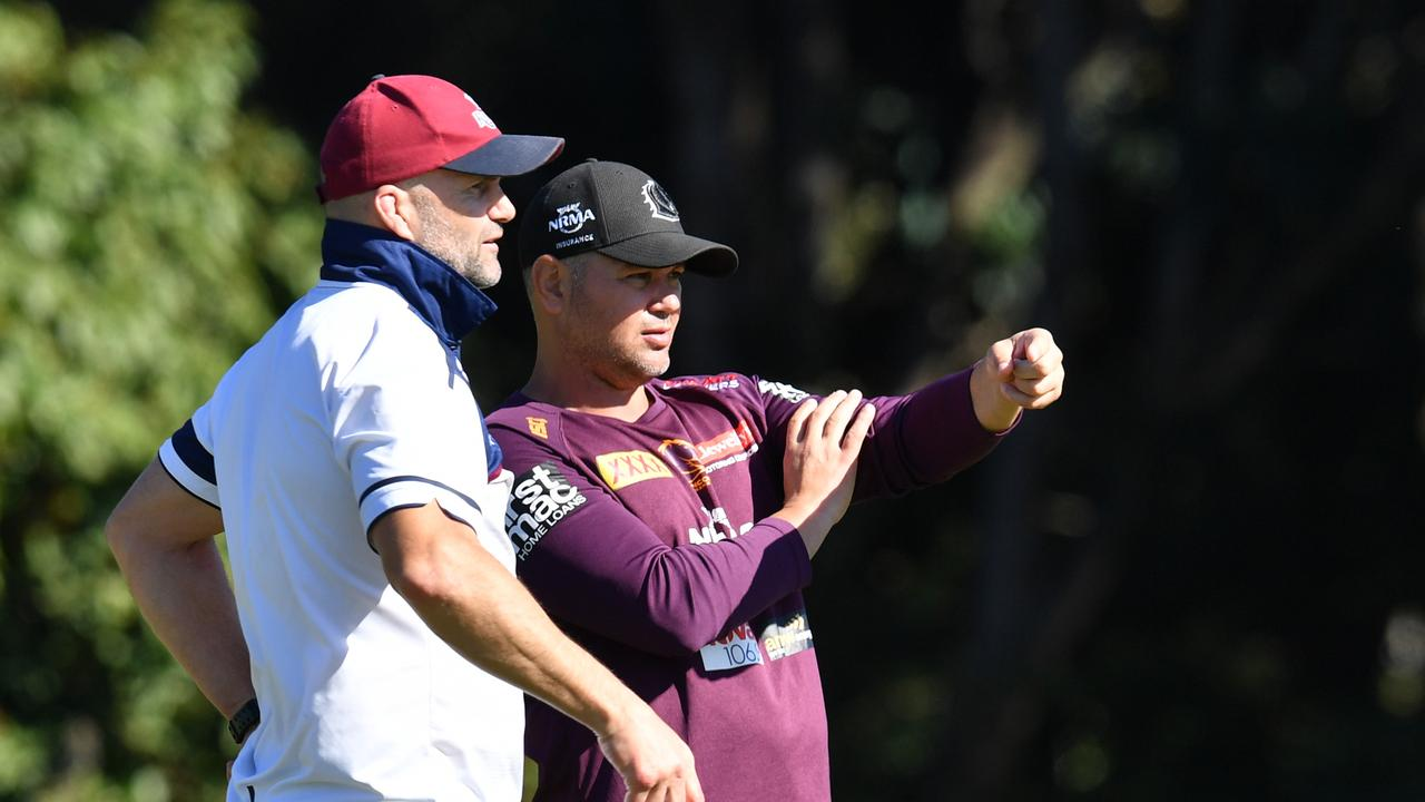 Former Broncos player and Queensland Reds defensive coach Peter Ryan with Brisbane coach Anthony Seibold. Picture: Darren England/AAP