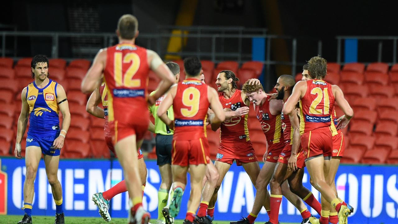 WINNERS CIRCLE: The Gold Coast Suns have thumped West Coast by 44 points over the weekend. (Picture: Matt Roberts)