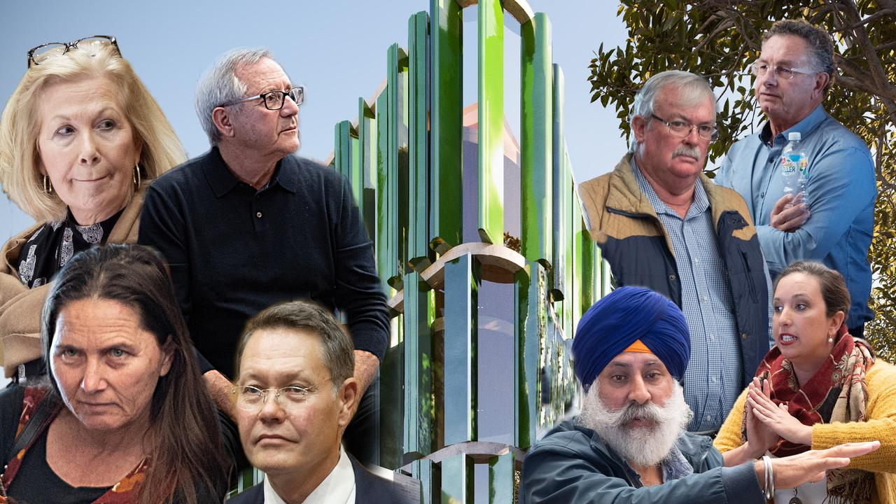 Mayor Denise Knight along with Clrs George Cecato, Sally Townley and Michael Adendorff (at the left) and Clrs Keith Rhoades, Paul Amos, John Arkan and Tegan Swan have repeatedly been on opposite sides of the debate surrounding the Cultural and Civic Space.
