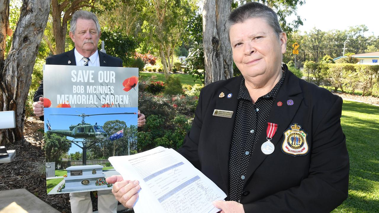 Caloundra sub branch secretary Heather Christie and President Geoffrey Gardiner are hopeful the Sunshine Coast Council will rethink plans to upgrade Oval and Third Ave after 8000 people signed a petition against the proposal to resume part of the Caloundra War Memorial Gardens for it.