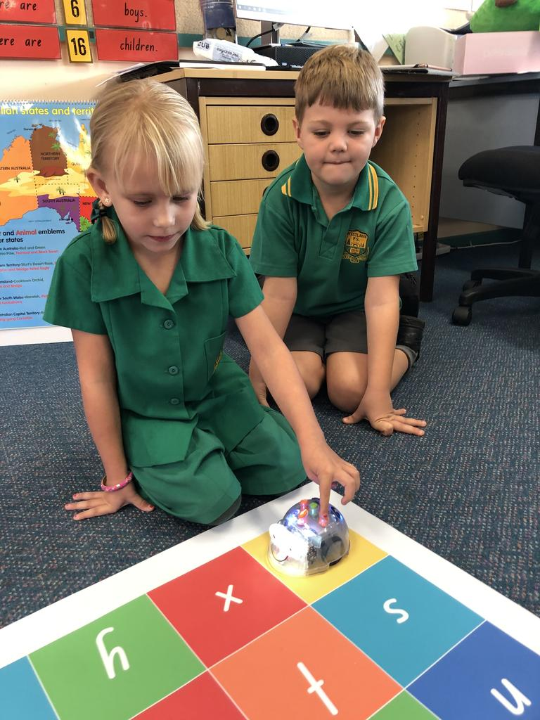 Westlawn Public School students use blue-bots to develop their skills in coding.