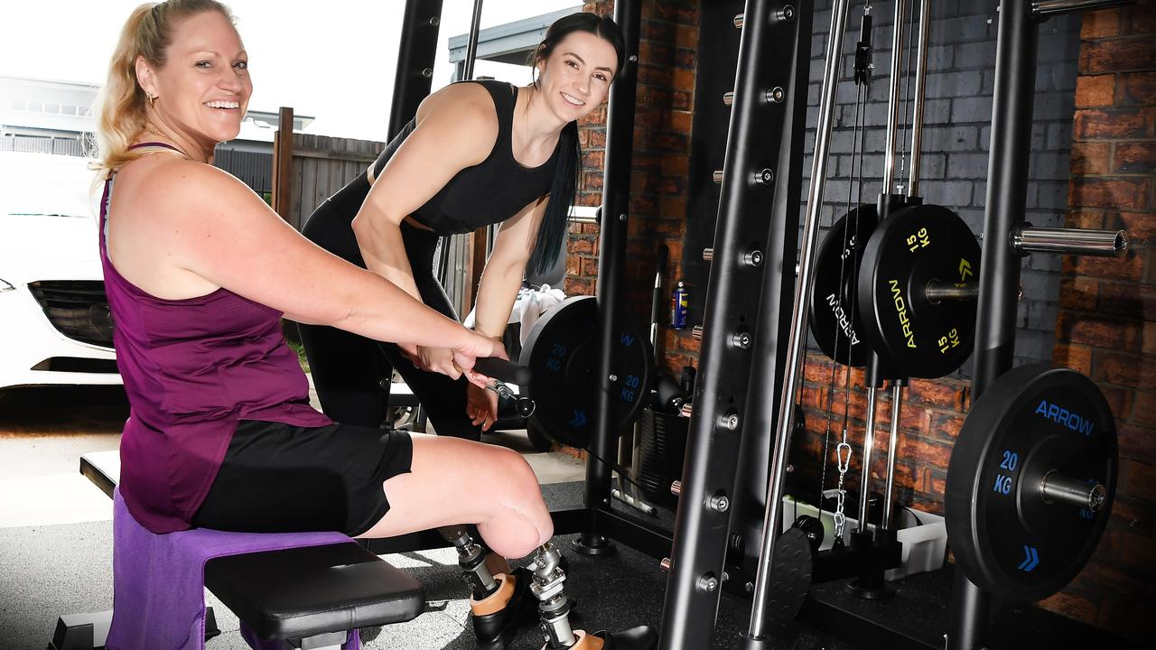 KICKING GOALS: Shona Muckert has achieved great things since training with Amanda Upton Fitness, including walking the furthest she ever has with her prosthetic legs. Photo Patrick Woods / Sunshine Coast Daily.