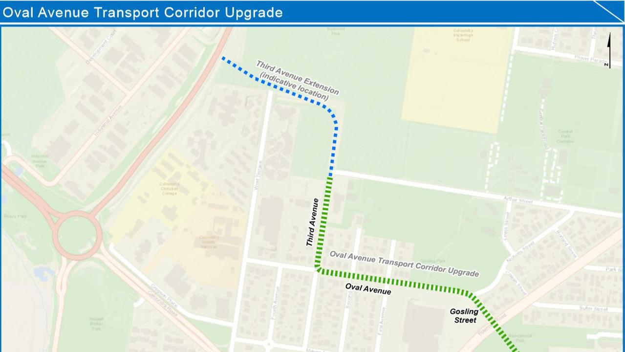 The transport corridor alignment map for the Sunshine Coast Council's Oval Ave traffic corridor upgrade.