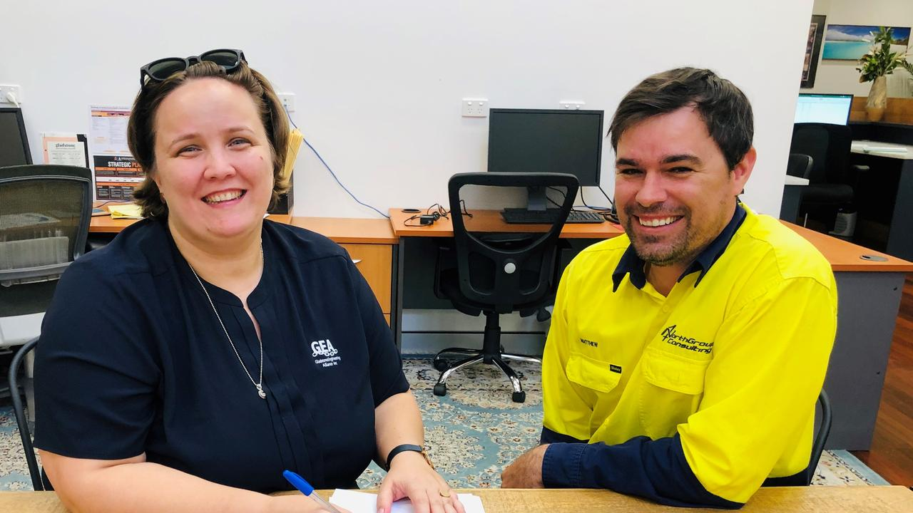 GEA events and communications manager Carey McIntosh and NorthGroup Consulting Gladstone manager Matthew McDonald.