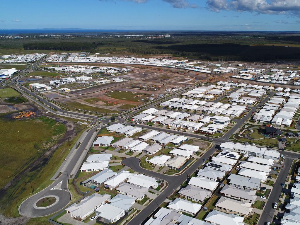 Aerial photos of the new housing development at Aura, Sunshine Coast. Photo: Patrick Woods