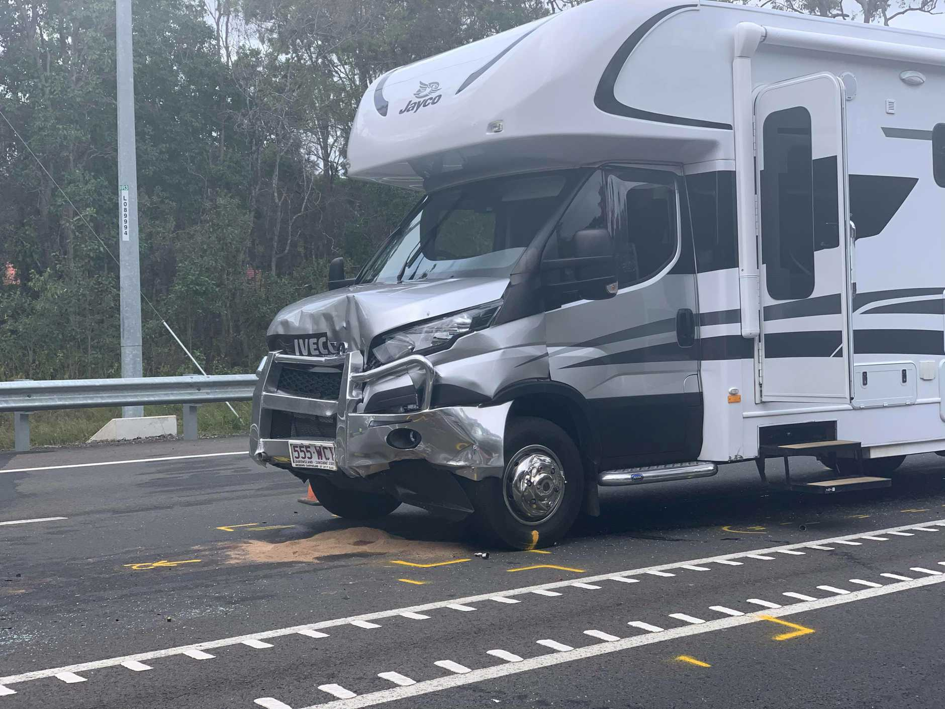 A red Toyota Corolla and a RV collided on the Bruce Highway