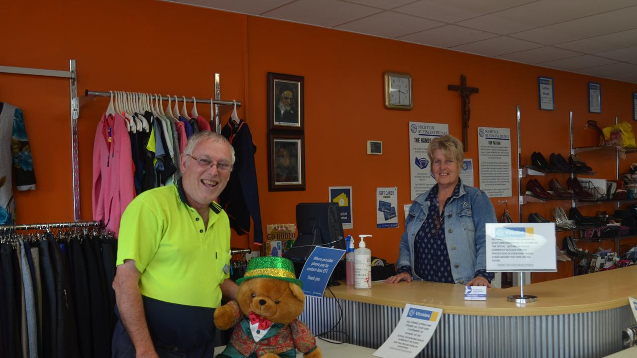 PITCHING IN: Vinnies Grafton St volunteers Richard Tartan and Julie Hansford say community donations are essential for keeping the charity going. Picture: Jessica Paul