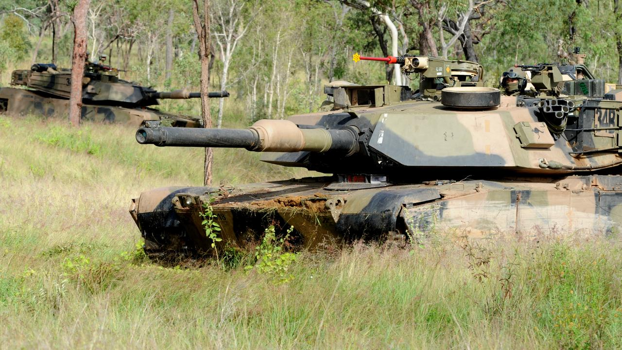 M1A1 Abrams tanks from the 2nd Cavalry Regiment at Townsville Field Training Area.