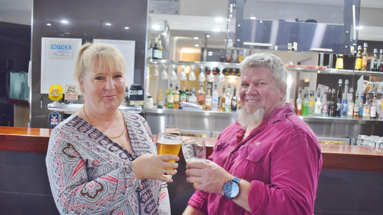 FIRST BEER: David and Tammy Watson visting Chinchilla from Warwick QLD.