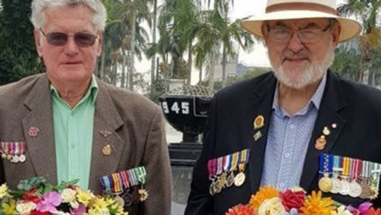 TRIBUTE: Treasurer FNC VVAA Murray Cooper with FNC VVAA President Sheldon Maher OAM at Remembrance Day Service in Lismore on November 11, 2019. The North Coast veterans community are mourning the death of Mr Maher (pictured left) PHOTO: Sheldon Maher