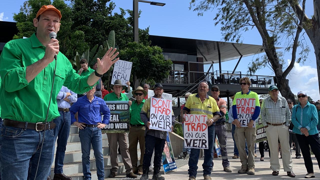 WATER ISSUE: Minister for Northern Australia Matt Canavan called for the Queensland Government to restore the originally designed water storage capacity during the Build the Real Rookwood Weir Rally.