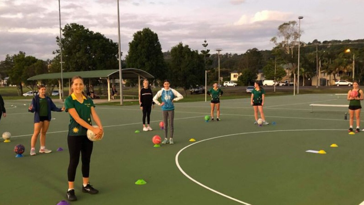 ON COURT: Members of the Lismore District Netball Association U15 representative team excited to be back on court practising ahead of the competition re-start.