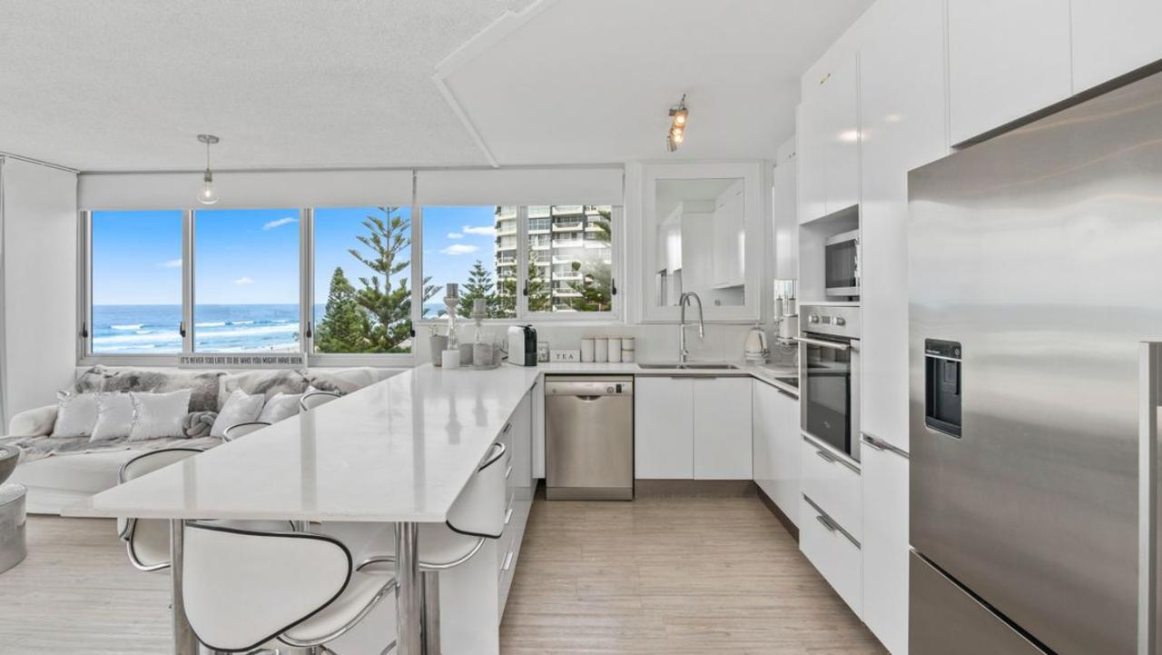 The kitchen at the Main Beach apartment.