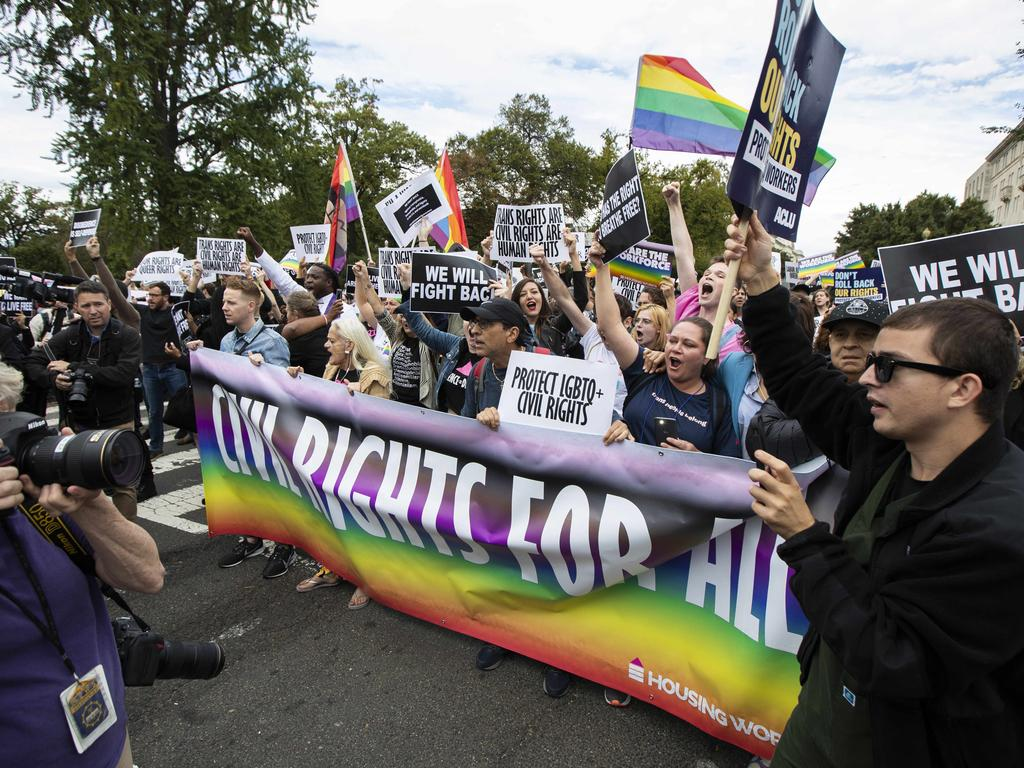 Supporters of LGBT rights stage a protest on the street in front of the U.S. Supreme Court in Washington. Picture: AP Photo/Manuel Balce Ceneta, File