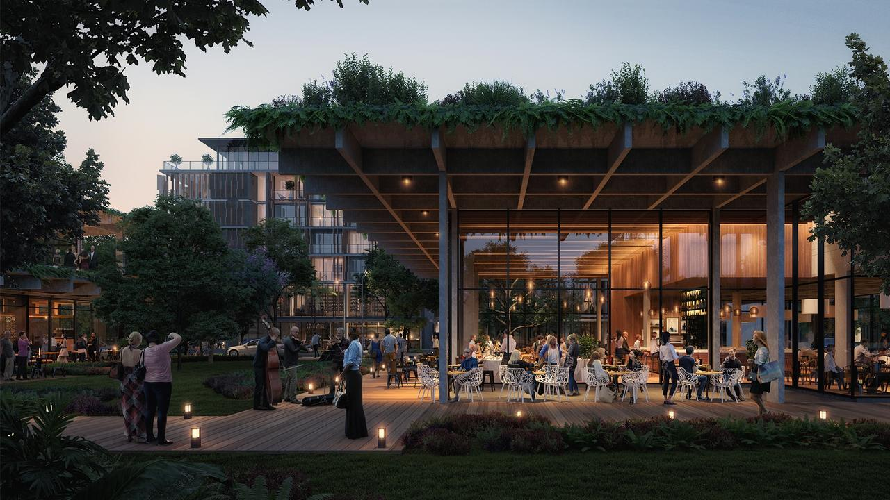Evening al-fresco dining and entertainment in the planned coastal village.