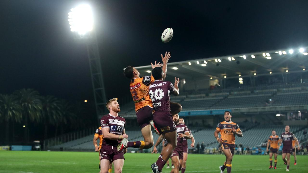 Xavier Coates, rising high for the ball against Manly, is a special talent. Picture: Getty