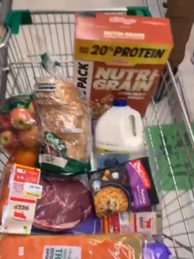 The grocery items each represent a different part of the Aboriginal culture. Picture: TikTok/@pnuks