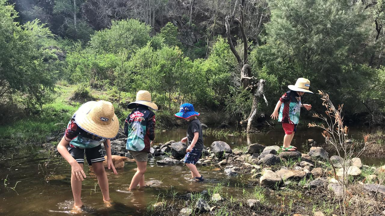 EMU CREEK: The boys enjoy being in nature near the creek just as much as fishing. (Picture: Tristan Evert)