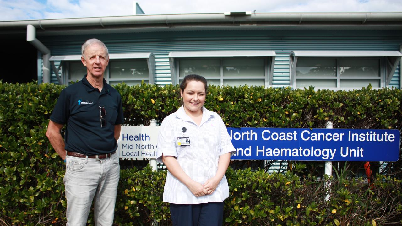 Coffs Harbour Prostate Cancer Support Group representative Bruce Robertson and Mid North Coast Cancer Institute Nurse Unit Manager Amelia Bolt welcome funding for this new nurse.
